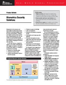 Biometrics Security Solutions - Texas Instruments