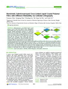 Biomimetic Submicroarrayed Cross-Linked Liquid ... - ACS Publications