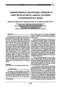 biomonitoring of occupational exposure to heavy ...