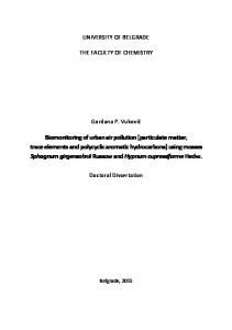 Biomonitoring of urban air pollution (particulate matter ...