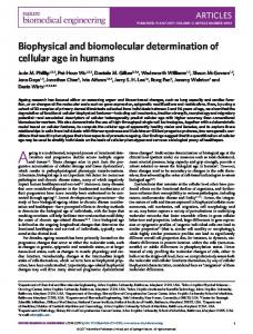 Biophysical and biomolecular determination of cellular age in humans