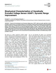 Biophysical Characterization of Genetically Encoded ... - Cell Press
