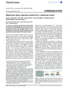 Biopolymers phase separation monitored by a ...
