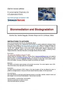 Bioremediation and Biodegradation - Springer