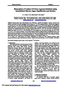 Biosorption of Cesium-134 from Aqueous Solutions using Immobilized