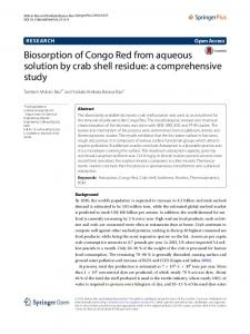 Biosorption of Congo Red from aqueous solution ... - Semantic Scholar