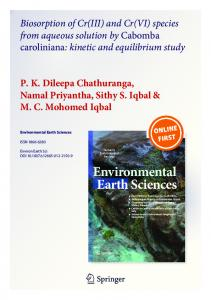 Biosorption of Cr(III) and Cr(VI) species from aqueous solution by