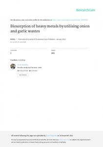 Biosorption of heavy metals by utilising onion and