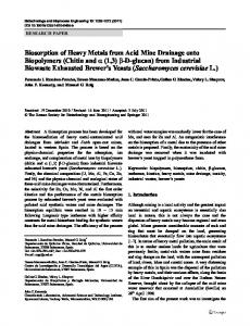 Biosorption of Heavy Metals from Acid Mine Drainage ... - Springer Link