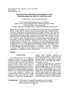 Biosorption of Heavy Metals from Aqueous Solution by Green Marine ...