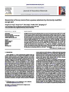 Biosorption of heavy metals from aqueous solutions by chemically ...