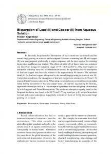 Biosorption of Lead (II) and Copper (II) from Aqueous ... - ThaiScience