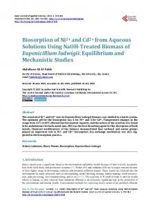 Biosorption of Ni2+ and Cd2+ from Aqueous Solutions Using NaOH