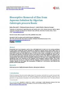 Biosorptive Removal of Zinc from Aqueous Solution by Algerian