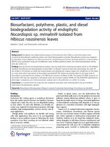 Biosurfactant, polythene, plastic, and diesel biodegradation activity of ...