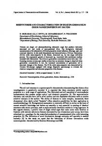 Biosynthesis and Characterization of Silicon-Germanium Oxide ...