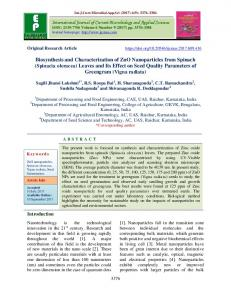 Biosynthesis and Characterization of ZnO Nanoparticles ... - IJCMAS