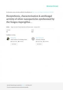 Biosynthesis, characterisation & antifungal activity of