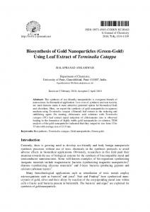 Biosynthesis of Gold Nanoparticles (Green-Gold) Using Leaf ... - Hindawi