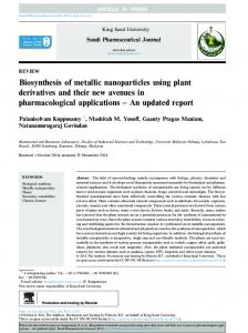 Biosynthesis of metallic nanoparticles using plant ...