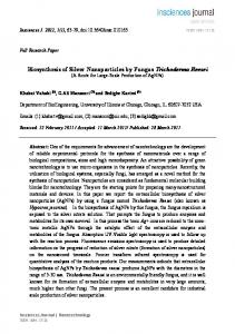 Biosynthesis of Silver Nanoparticles by Fungus ...