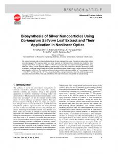 Biosynthesis of Silver Nanoparticles Using Coriandrum Sativum Leaf ...
