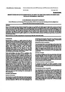 biosynthesis of silver nanoparticles using the bacteria bacillus cereus ...