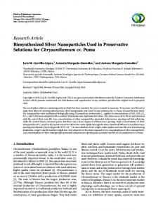 Biosynthesized Silver Nanoparticles Used in Preservative Solutions ...