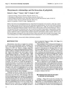 Biosystematic relationships and the formation of ...