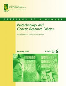 Biotechnology and genetic resource policies - AgEcon Search