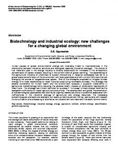 Biotechnology and industrial ecology - TSpace