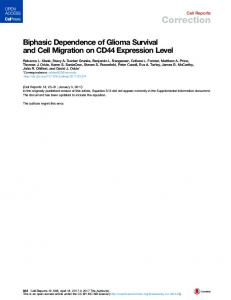 Biphasic Dependence of Glioma Survival and Cell Migration on CD44 ...