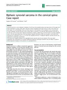 Biphasic synovial sarcoma in the cervical spine: Case report ...
