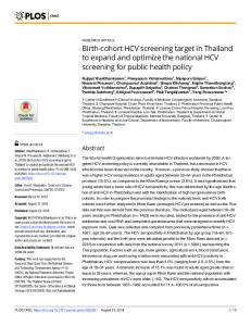 Birth-cohort HCV screening target in Thailand to expand and ... - PLOS