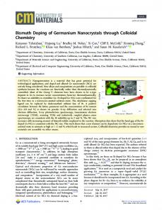 Bismuth Doping of Germanium Nanocrystals ... - ACS Publications