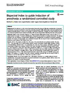 Bispectral index to guide induction of anesthesia - BMC Anesthesiology