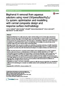 Bisphenol A removal from aqueous solutions using novel UV ...