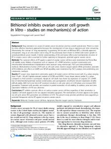 Bithionol inhibits ovarian cancer cell growth In Vitro - BioMedSearch