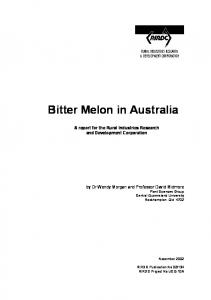Bitter Melon in Australia - Publications