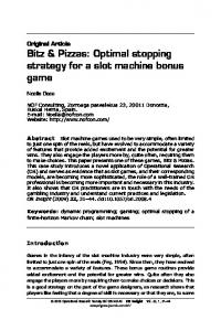Bitz & Pizzas: Optimal stopping strategy for a slot ... - Springer Link