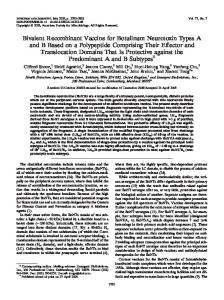 Bivalent Recombinant Vaccine for Botulinum Neurotoxin Types A and ...