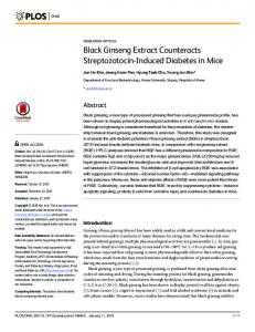 Black Ginseng Extract Counteracts Streptozotocin-Induced ... - PLOS
