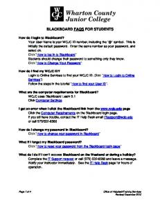 BLACKBOARD FAQS FOR STUDENTS How do I log in to ...