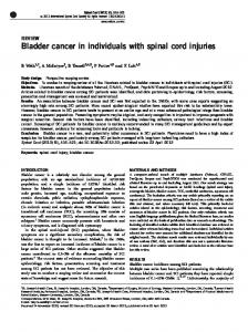 Bladder cancer in individuals with spinal cord injuries - Nature