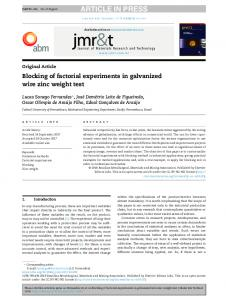 Blocking of factorial experiments in galvanized wire