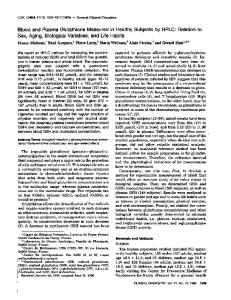 Blood and Plasma Glutathione Measured in ... - Clinical Chemistry