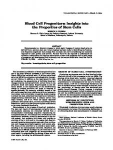 Blood cell progenitors: Insights into the ... - Wiley Online Library