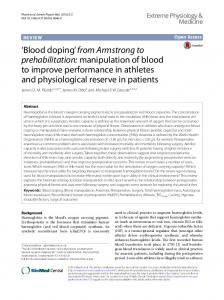'Blood doping' from Armstrong to prehabilitation - Semantic Scholar