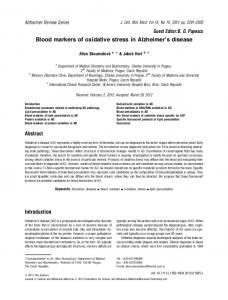 Blood markers of oxidative stress in Alzheimers disease - CiteSeerX