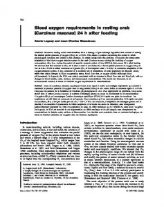 Blood oxygen requirements in resting crab (Carcinus maenas) 24 h ...